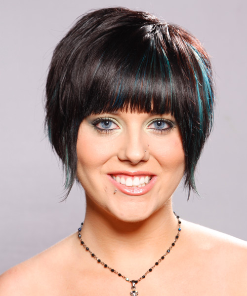 short hairstyles with front bangs. Blunt angs are added to frame