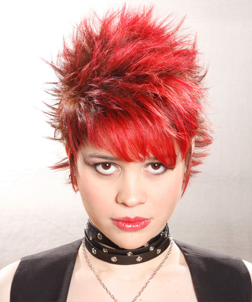 Solid Hair Color - Short spiked red hair