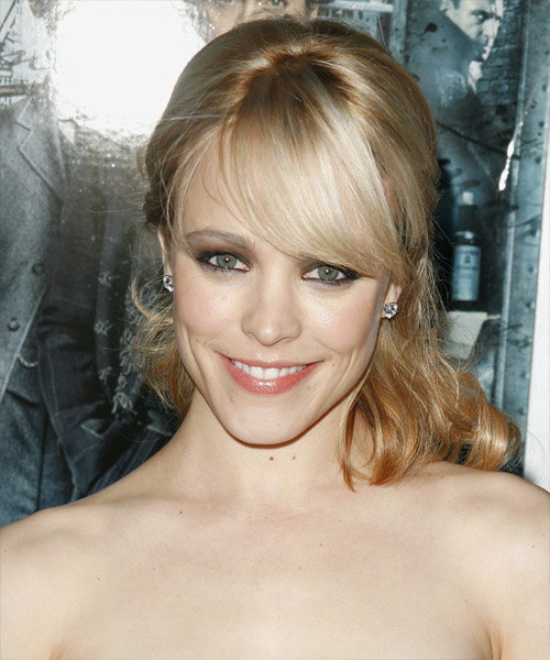 Rachel McAdams Curly Formal Half Up Hairstyle with Side Swept Bangs