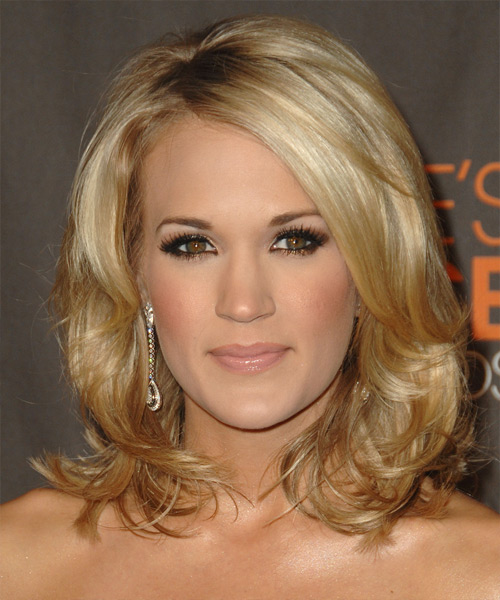 Carrie Underwood Medium Wavy Hairstyle - Medium Blonde (Honey)