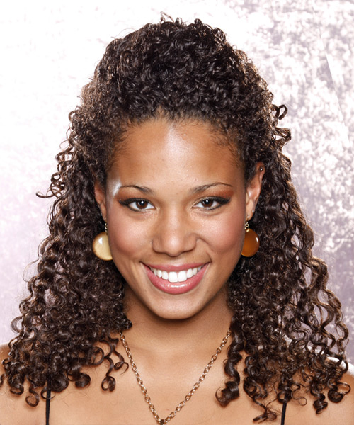 Casual Curly Half Up Hairstyle - Medium Brunette