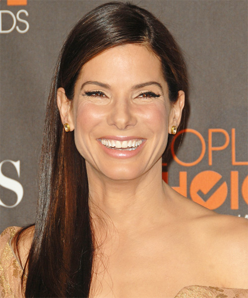 Sandra Bullock Long Straight Casual Hairstyle - Medium Brunette (Chestnut) Hair Color