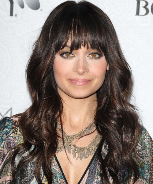 Nicole Richie Long Wavy Casual Hairstyle - Medium Brunette (Mocha) Hair Color