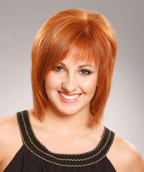 Medium Straight Formal Hairstyle with Layered Bangs - Medium Red (Ginger) Hair Color