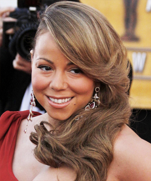 Mariah Carey Long Wavy Hairstyle - Light Brunette (Caramel)