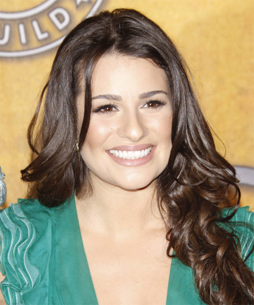 Lea Michele Long Wavy Formal Hairstyle - Medium Brunette (Chocolate) Hair Color