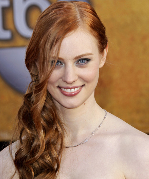 Deborah Ann Woll Half Up Long Curly Formal Half Up Hairstyle