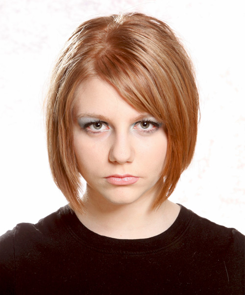 Medium Straight Casual Bob Hairstyle - Light Brunette (Copper) Hair Color
