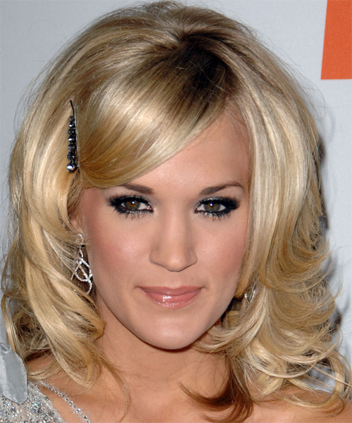 Carrie Underwood Medium Wavy Hairstyle - Medium Blonde (Champagne)