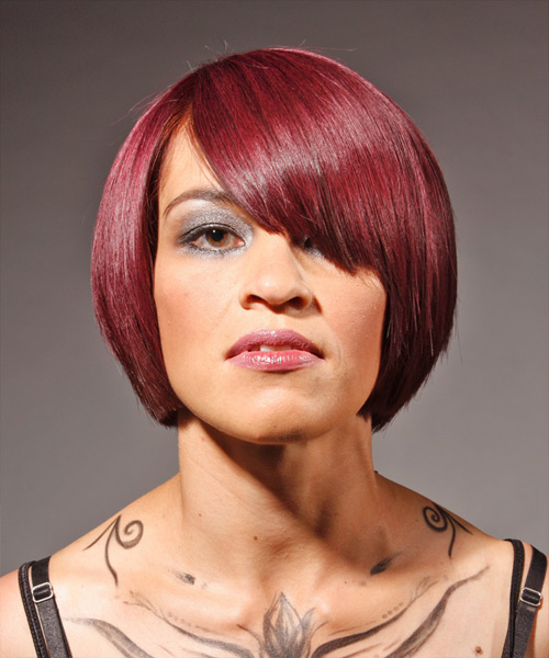 Medium Straight Alternative Hairstyle - Medium Red Hair Color