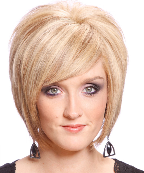 Blonde backcombed mid-length hairstyle