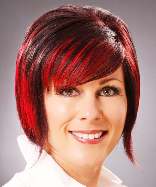 Medium Straight Alternative Hairstyle with Side Swept Bangs - Dark Red (Bright) Hair Color