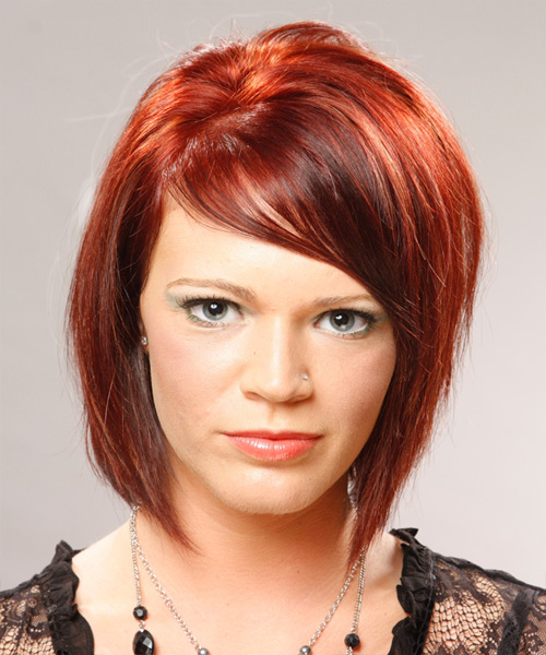 Medium Straight Casual Bob Hairstyle with Side Swept Bangs - Light Red (Bright) Hair Color