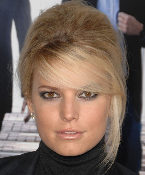 Jessica Simpson Straight Formal Updo Hairstyle with Side Swept Bangs - Medium Blonde Hair Color