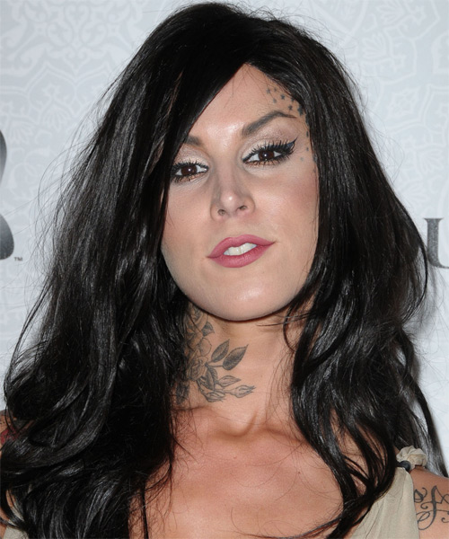 Kat Von D Long Straight Casual Hairstyle