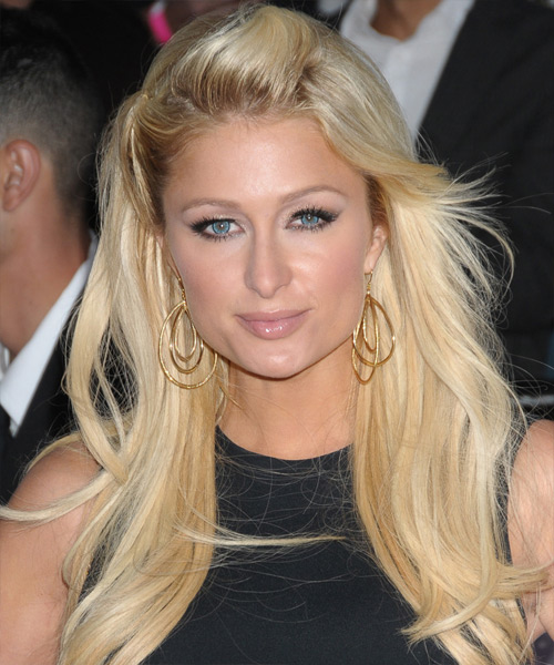 Paris Hilton Half Up Long Straight Hairstyle