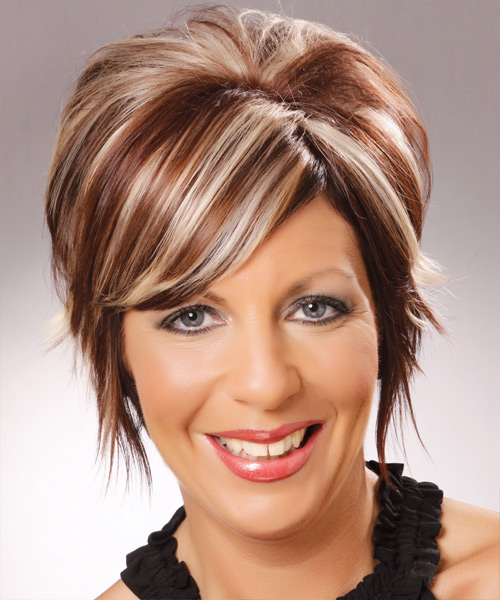 Short Straight Formal Hairstyle with Side Swept Bangs - Medium Brunette Hair Color