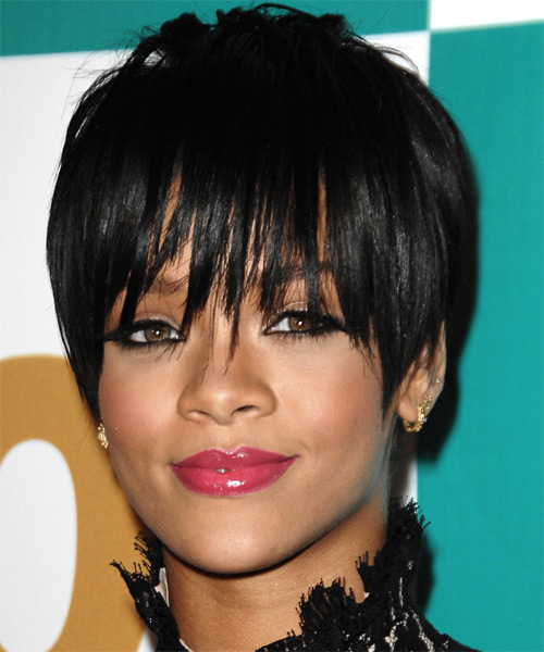Rihanna Short Straight Alternative Hairstyle with Razor Cut Bangs - Black Hair Color