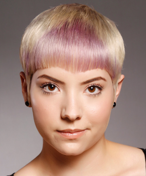 Short Straight Alternative Hairstyle - Light Blonde (Champagne) Hair Color