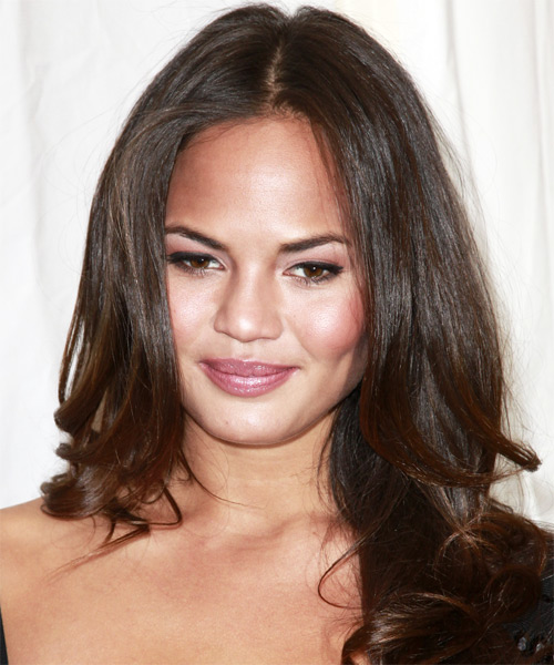 Christine Teigen Long Wavy Casual Hairstyle - Medium Brunette (Chocolate) Hair Color