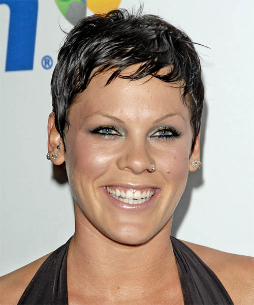 Pink - Casual Short Straight Hairstyle