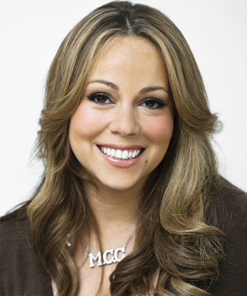 Mariah Carey Long Wavy Hairstyle - Medium Brunette (Ash)