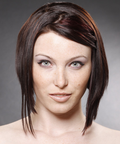 Medium Straight Alternative Hairstyle - Dark Brunette (Mocha) Hair Color