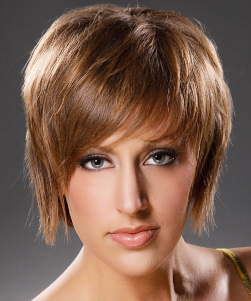 Short Straight Casual Hairstyle - Medium Brunette (Caramel) Hair Color