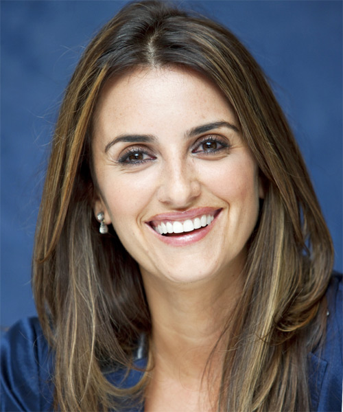 Penelope Cruz Long Straight Casual Hairstyle - Medium Brunette Hair Color