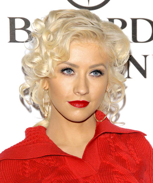 Christina Aguilera Medium Curly Hairstyle