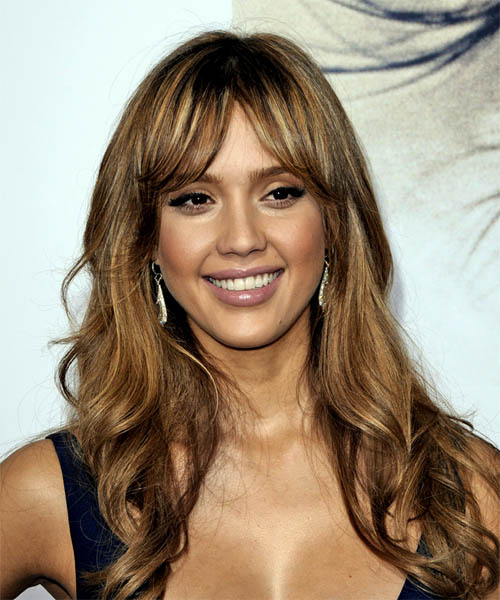 Jessica Alba Long Wavy Casual Hairstyle with Layered Bangs - Medium Brunette (Ash) Hair Color