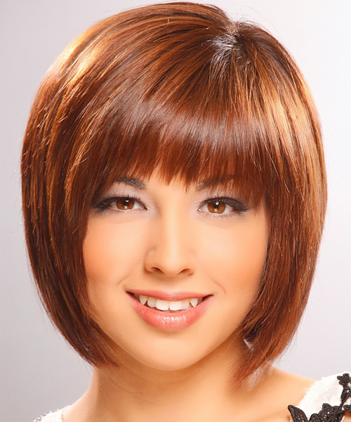 Medium bob hairstyle with across bangs