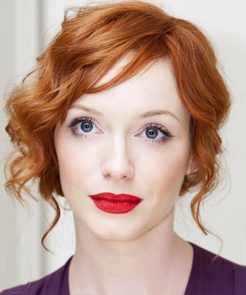 Christina Hendricks Formal Curly Updo Hairstyle - Light Red (Ginger)