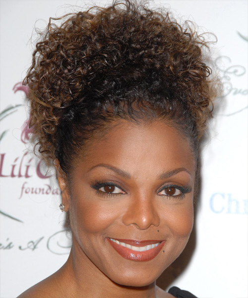 Janet Jackson - Casual Updo Long Curly Hairstyle