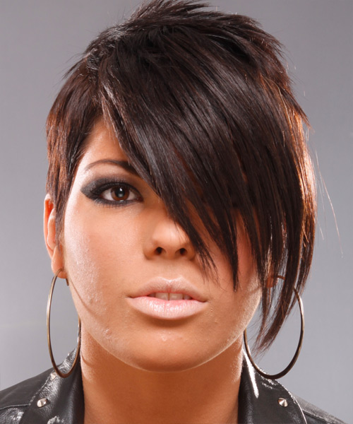 Short Straight Alternative Hairstyle - Medium Brunette (Chocolate) Hair Color