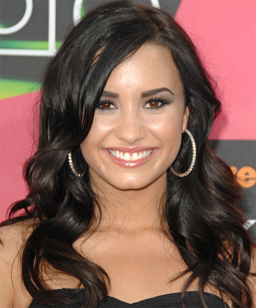 Demi Lovato Long Wavy Hairstyle - Dark Brunette