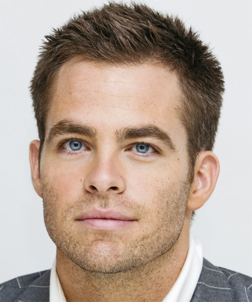 Chris Pine Short Straight Formal Hairstyle - Medium Brunette (Ash) Hair Color