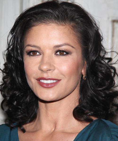 Catherine Zeta Jones - Formal Medium Wavy Hairstyle