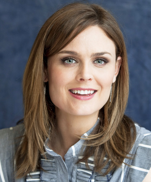 Emily Deschanel Long Straight Hairstyle