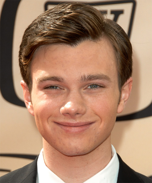 Chris Colfer Short Straight Hairstyle - Medium Brunette (Ash)