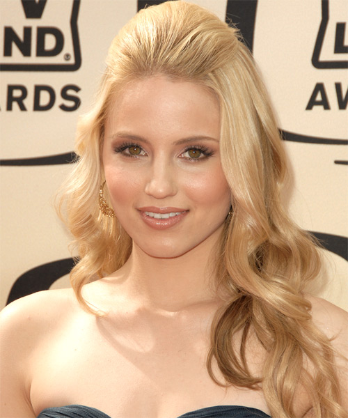 Dianna Agron Half Up Long Curly Formal  - Light Blonde
