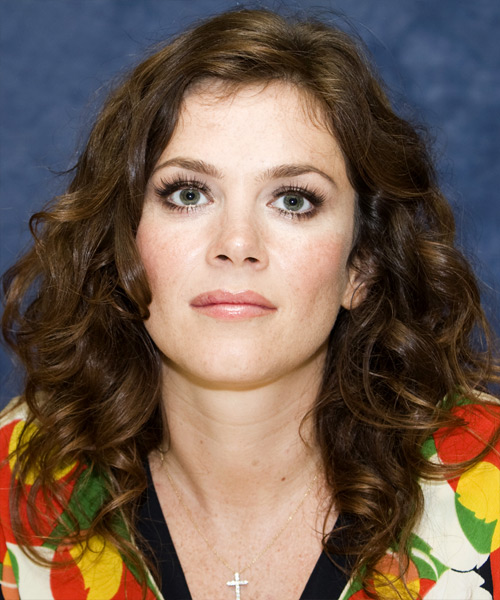 Anna Friel Long Wavy Casual Hairstyle - Medium Brunette Hair Color