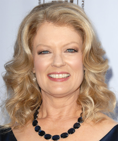 Mary Hart Medium Wavy Hairstyle - Light Blonde
