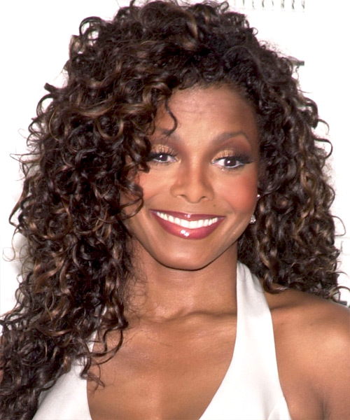 Janet Jackson Long Curly Hairstyle