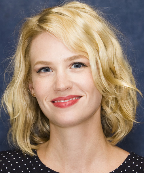 January Jones Medium Wavy Casual Hairstyle