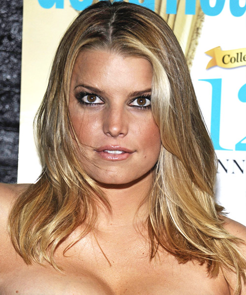 Jessica Simpson Long Straight Casual Hairstyle - Dark Blonde (Golden) Hair Color