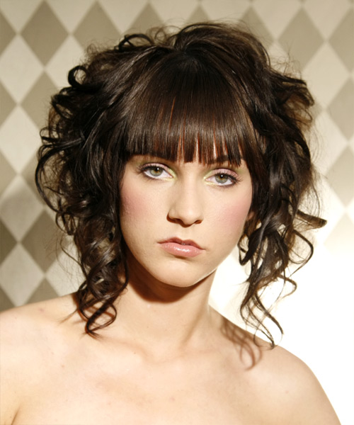 Long Curly Updo Hairstyle with Forehead covering bangs
