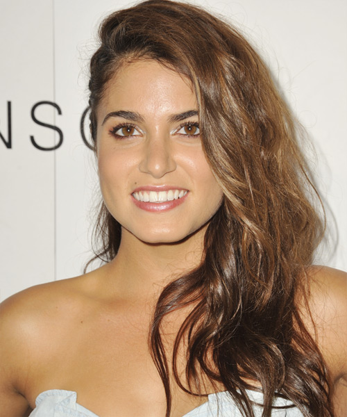 Nikki Reed Long Wavy Hairstyle - Medium Brunette (Chestnut)