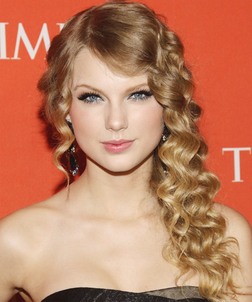 Taylor Swift Long Curly Hairstyle - Dark Blonde