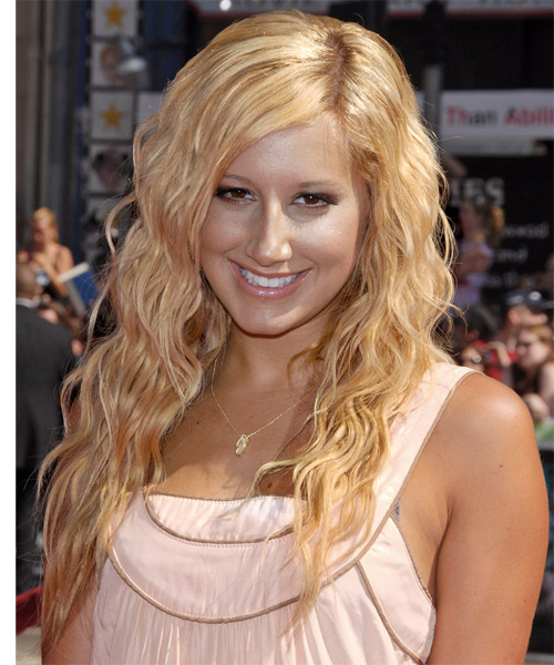 Ashley Tisdale Long Wavy Casual Hairstyle - Light Blonde (Golden) Hair Color
